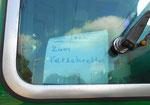 Hinweisschild in der Führerkabine des Trammotorwagens B4/4 Nr.469 September 2016