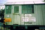 Detailansicht der Krankabine des Eisenbahnkrans der Eurovapor im Bahnhof Wollbach 1980