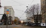 Die Gebäude der NOVARTIS vor der BVB-Werkstätte mit Blick gegen die Dreirosenbrücke, 2016