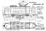 Tram-Motorwagen Be 2/3 Nr.303 (Zeichnung BVB)
