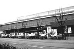 Muba-Halle 6 (ehem.Sporthalle mit beliebter Radrennbahn!) mit dem ehemaligen Restaurant Fryburgerstübli am Riehenring, 1980