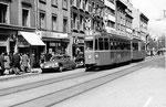 Tramzug eines Be 4/4 Einsatzkurses der Linie 18 in der Clarastrasse im Jahre 1969 während der Mustermesse.