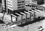 Abriss der Halle 9 (Holzhalle für die Holzmesse) der Schweiz.Mustermesse ca.1980