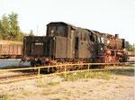 Die Dampflokomotive BR 050 413-4 im Bahnbetriebswerk Haltingen, 1970