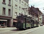 Ein damals normaler Tramzug:  Be 2/2 mit zwei Anhängewagen auf der Linie 5 in der St.Johanns-Vorstadt, 1970 (Die Linie 5 verkehrte zwischen St.Louis Grenze und dem Bruderholz)