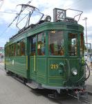 Hundert Jahre Tram nach St.Jakob. Der Motorwagen Be 2_2 Nr.215 auf der Linie 22 an der Endhaltestelle St.Jakob_Schänzli, 2016