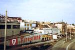 Blick Richtung Heuwaage, die Elisabethenschanze mit der berühmten Firestone-Mauer um 1980