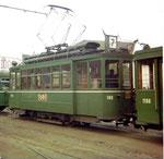 Der Tramzug der Linie 7 mit Motorwagen Be 2/2 Nr. 166 und Anhängewagen Nr .1198 an der Mustermesse, 1972