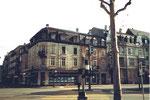 Der Burgfelderplatz mit dem Eckhaus St.Johann-Ring//Missionsstrasse im Jahre 1970