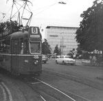 Schon im Jahre 1969 gab es Zeitweise eine Linie 8 (während der Fasnacht) Motorwagen Be 4/4 Nr. 444 am Bahnhof SBB