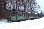 Trammotorwagen Be 2/2 Nr.161 mit einem Anhängewagen auf dem Abstellgeleise Eglisee im Winter 1972