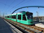 Die neue Endhaltestelle der Linie 8 auf der Eisenbahn-Brücke in Weil am Rhein, Januar 2015