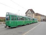DÜWAG-Trammotorwagen Be 4/6 Nr.644 und vorne die Nr.639 auf der Linie 1/14, Mittlere Brücke im Juli 2015
