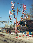 Der Rheinhafen Basel, Das Hafenbecken 1 mit dem Flaggenmast 1984