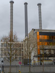 Produktionsanlagen der Novartis (ehemals CIBA und Ciba-Geigy) mit den markanten Kaminen im Jahre 2014