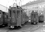 Zwei Trammotorwagen Be 2/2 Nr.161 und Nr.165 auf den Abstellgeleisen hinter dem grossen Depot Wiesenplatz, 1970