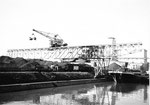 Hafenbecken 1, der Kran der Rheinischen Güterumschlags AG (ehem.Rheinische Kohlenumschlags AG) 1981