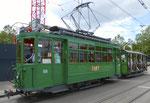 Hundert Jahre Tram nach St.Jakob. Motorwagen Be 2/2 Nr.156 und der Sommerwagen C2 Nr.281 auf der Linie 22 an der Haltestelle St.Jakob, 2016
