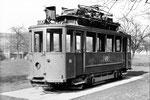 Ein ausrangierter Trammotorwagen Be 2/2 Nr.46 auf dem Kinderspielplatz in Allschwil, 1969 (Dieser Motorwagen verkehrte lange Zeit in Lörrach)