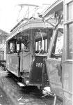 Trammotorwagen Be 2/2 Nr.195 nach dem schweren Baggerunfall in der BVB-Werkstätte an der Klybeckstrasse 1970