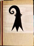 Stadtbanner aus Basler Seidenband von der Firma Seiler&Co Basel, (Einband zum Buch «BASEL - Denkschrift zur Erinnerung an die vor 2000 Jahren erfolgte Gründung Basels«, 1957 (Urs Graf-Verlag, Olten, Basel, Lausanne)