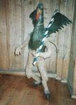 Ein altes Kostüm des «Vogel Gryff» im Klingental-Museum, Januar 1986