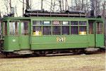 Trammotorwagen Be 2/2 Nr.161 in der Abstellanlage Eglisee, 1972