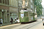 Tram Be 4/4 Nr.408 Linie 4 Klybeckstrasse bei Fahrrad-Chabeau, 1970