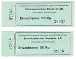 Ein Eintrittsbillett für den 55 Meter hohen Siloturm der Schweizerischen Reederei im Rheinhafen Kleinhüningen 1967