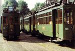 Drei Trammotorwagen Be 2/2 Nr. 151, 156, 178 in der Abstellanlage an der Endstation in Kleinhüningen, 1972
