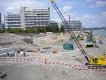Nach dem Abbruch des Hafen St.Johann, in Hintergrund Gebäude der Novartis, Juli 2011