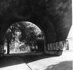 Der Kleinbasler Brückenkopf der Wettsteinbrücke, 1960