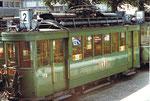 Der Trammotorwagen Be 2/2 Nr. 178 Linie 2 auf dem Abstellgeleise in Kleinhüningen, 1972