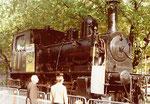 Herbstmesse 1978 - Hinweis auf eine Eisenbahn-Modellausstellung mit dieser SBB-Dampflokomotive (Tigerli)