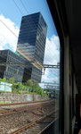 Der «Schiefe Turm zu Basel« - Foto aus dem fahrenden Zug Richtung Bahnhof Basel SBB, Juli 2019