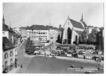 Ansichtskarte S 6930 Basel. Barfüsserplatz und Historisches Museum (Verlag Beringer & Pampaluchi Zürich)