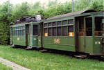 Trammotorwagen Be 2/2 Nr.138 mit Anhängewagen Nr.1174 in der Abstellanlage Eglisee, 1972