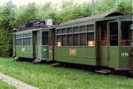 Der Trammotorwagen Be 2/2 Nr. 138 mit dem Anhängewagen Nr.1174 in der Abstellanlage Eglisee, 1972