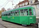 Nochmals der Anhängewagen Nr. 1446 vor dem Depot Dreispitz (vor Verlad nach Belgrad) Oktober 2015