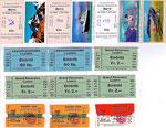 Karten von Gewichtsautomaten der SBB und andere Eintrittskarten ab den 70er-Jahren (zum Vergrössern 1x auf das Bild klicken)