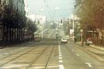 Die Horburgstrasse mit Blick gegen die Dreirosenbrücke, 1974
