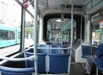 Innenaufnahme des Trammotorwagens Be 4/6 S Nr.678 an der Haltestelle Bad.Bahnhof, Juli 2015