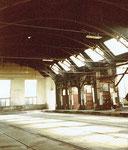 Blick in die grosse Halle des Betriebswerks Haltingen (Innenaufnahme) 1978