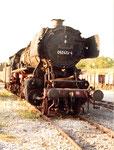 Die Dampflokomotive BR 050 423-4 im Bahnbetriebswerk Haltingen, 1970