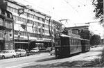 Tramzug Be 4/4 Nr. 420 auf der Linie 4 im Aeschengraben, die Haltestelle Aschenplatz anfahrend, 1969