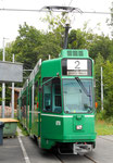 Frontansicht des Trammotorwagens Be 4/6 S Nr.678 an der Kehrschleife Eglisee, Juli 2015