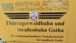 Beschriftung auf einem Tramwagen der «Thüringer Waldbahn» in Gotha, Oktober 2018