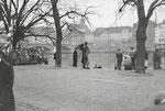 Vogel Gryff 1959. Der Vogel Gryff wartet auf dei Ankunft des Wilden Mannes