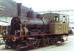 Die Rheinhafen-Dampflokomotive E 3/3 Nr.8474 der Schweizerischen Reederei während des Rangierens in der Westquaistrasse, 1971 (Diese Lokomotive steht nun im Locorama in Romanshorn)