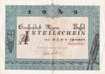 Anteilschein von 10 Franken der Genossenschaft MIGROS Basel vom Juni 1949